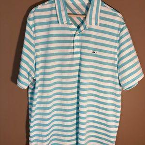 Vineyard Vines blue white stripes golf polo shirt